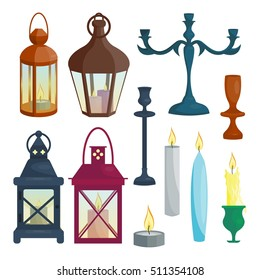 Set of candle holders and lanterns. Vector illustration. Cartoon style. Elements for new year and christmas cards