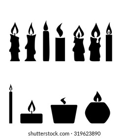 Set of candles isolated on white background, vector illustration