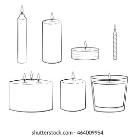 Set of candles sticks: pillar candle, container candle, tealight candle, multi wick candle, party candle. Isolated illustration. Vector.