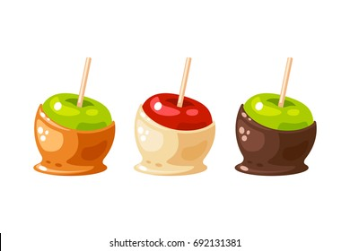 Set of candy apple coated by sweet caramel, white and dark chocolate. Vector illustration collection flat cartoon icon isolated on white.