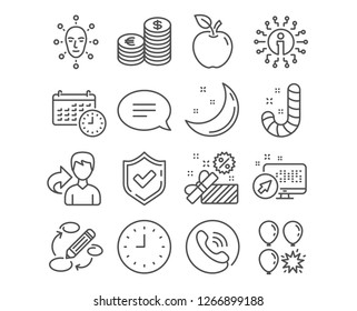 Set of Candy, Face biometrics and Sale icons. Chat, Clock and Calendar signs. Balloon dart, Keywords and Currency symbols. Lollypop, Facial recognition, Gift box. Speech bubble, Time or watch, Time