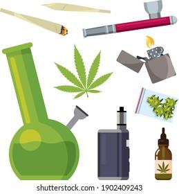 Set Cannabis Elemente Geräte für das Rauchen Marihuana Blätter von Unkrauthanf. Zigaretten, leichter, Knospen, Blätter, Flasche, Glas Glas, Plastiktüte, Rohr zum Rauchen Cannabis.