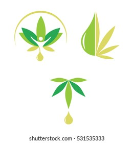 Set of cannabis icon logo design