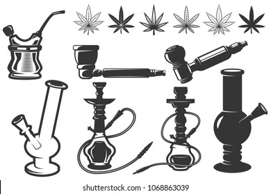 Set of cannabis leafs, bongs, hookahs icons. Cannabis, marijuana. Design elements for logo, label, emblem, sign. Vector illustration