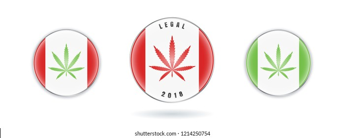 Set of Cannabis on Canada flag in circle icon. Marijuana Legalization in Canada. Vector stock sign Legalize Canabis.