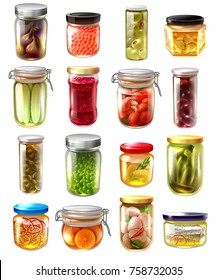 Set of canned food in glass jars with fruit jams, pickled vegetables, fish, caviar isolated vector illustration