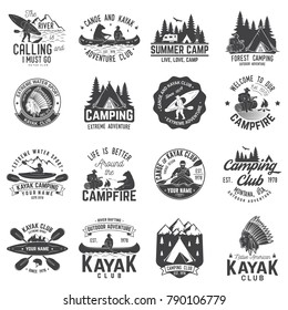Set of canoe, kayak and camping club badge. Vector illustration. Concept for shirt, print, stamp or tee. Vintage typography design with mountain camp and kayaker silhouette. Extreme adventure.