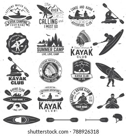 Set of canoe and kayak club badges and design element. Vector. Concept for shirt, print, stamp or tee. Vintage typography design with mountain, river, american indian and kayaker silhouette.