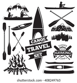 Set of canoe and kayak design elements. Two man in a canoe boat, man in a kayak, boats and oars, mountains, campfire, forest, label. Vector