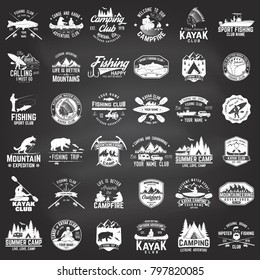 Set of canoe, kayak, fishing and camping club badge on the chalkboard. Vector. Concept for shirt, print, stamp or tee. Vintage design with fisher, mountain camp, kayaker silhouette. Extreme adventure