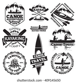 Set of canoe and kayak labels. Two man in a canoe boat, man in a kayak, boats and oars, mountains, campfire, forest, canoe tours, kayaking, canoe travel shop. Vector