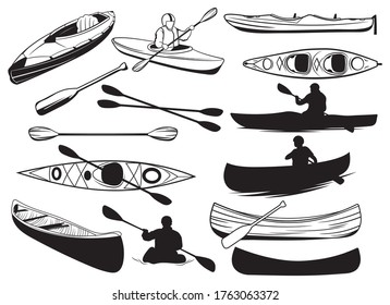 Set of canoe silhouettes. Collection of people floating in a kayak. Black and white illustration of a kayak. Rowing boat vector drawing for logo.