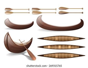 A set of canoe -- vector. Top and side view of a canoe.Object isolated on white background.
