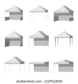 Set Canopy shed overhang awning mockup set. Cartoon style illustration of 9 canopy shed overhang awning mockups promotional outdoor event trade show pop-up tent mobile marquee, isolated