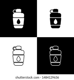 Set Canteen water bottle icon isolated on black and white background. Tourist flask icon. Jar of water use in the campaign.  Vector Illustration