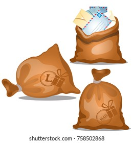 A set of canvas bags of letters and parcels in envelopes isolated on white background. Vector cartoon close-up illustration.