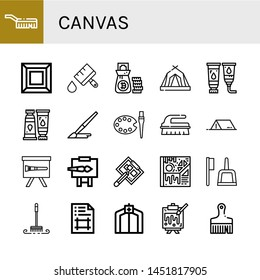 Set of canvas icons such as Brush, Art, Paint brush, Money bag, Tent, Paint tube, Easel, Drawing board, Artboard, Painting , canvas