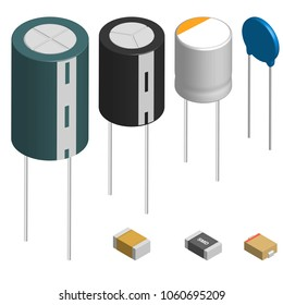 Set of capacitors of different shapes isolated on white background. Elements design of electronic components. 3D isometric style, vector illustration.