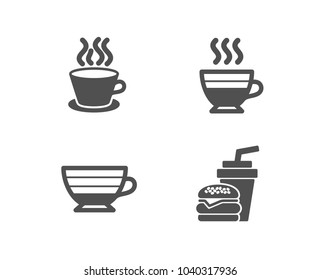Set of Cappuccino, Tea cup and Cafe creme icons. Hamburger sign. Coffee cup, Coffee mug, Burger with drink.  Quality design elements. Classic style. Vector