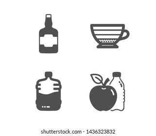 Set of Cappuccino, Whiskey bottle and Cooler bottle icons. Apple sign. Coffee cup, Scotch alcohol, Water drink. Diet food.  Classic design cappuccino icon. Flat design. Vector