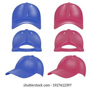 A set of caps from different angles in red and blue. Design of caps and baseball caps side view, back, front view, isolated on white background. Vector illustration