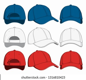 Set of caps, front, back and side view. Vector illustration