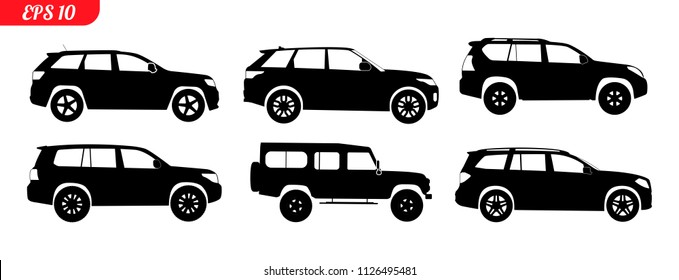 Set of car 4x4 silhouettes, black and white car silhouettes, logo suv isolated on white background, vector illustration car logotype. Set offroad silhouettes 4x4, repair, service monochrome icons 4x4
