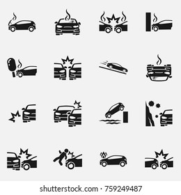 Set of car accident vector icon isolated on white background.