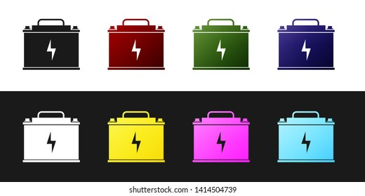 Set Car battery icon isolated on black and white background. Accumulator battery energy power and electricity accumulator battery. Lightning bolt symbol. Vector Illustration