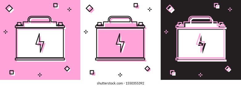 Set Car battery icon isolated on pink and white, black background. Accumulator battery energy power and electricity accumulator battery. Lightning bolt.  Vector Illustration
