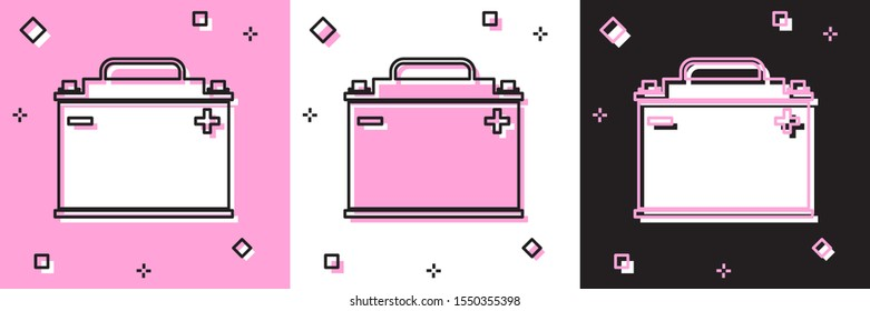 Set Car battery icon isolated on pink and white, black background. Accumulator battery energy power and electricity accumulator battery.  Vector Illustration