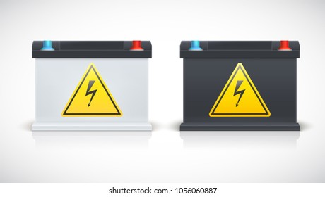 Set of car battery isolated on a white background, various parts. Icons of Car parts for garage, auto services. Black and white car accumulators. 3D illustration