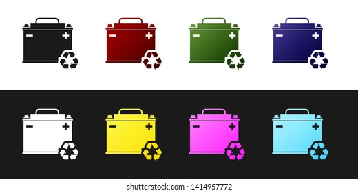 Set Car battery with recycle icon isolated on black and white background. Accumulator battery energy power and electricity accumulator battery. Vector Illustration
