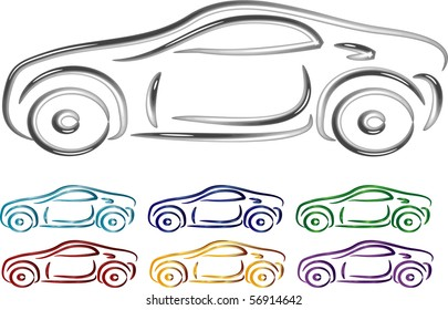 Set of Car design in 3D illustration vector