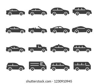Set of car icon vector