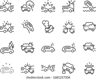 set of car icons, accident, insurance, auto, vehicle