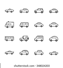 Set of car icons , eps10 vector format