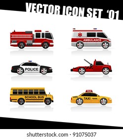 Set of the car icons in vector. Fire truck, ambulance, police car, truck for transportation faulty cars, school bus, taxi.