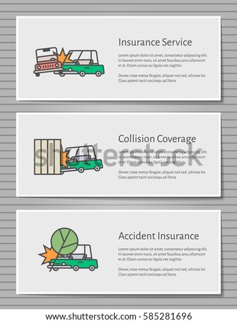Set Car Insurance Infographic Web Banners Stock Vector Royalty Free