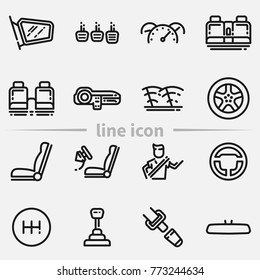Set of car interior details outline vector icon. Includes seats, back seats, dashboard, transmission and safety belt.