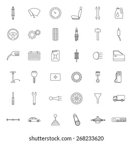 Set of car parts icons.