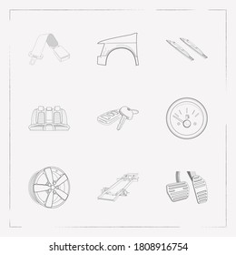 Set of car parts icons line style symbols with fuel gauge, car key, car seatbelt and other icons for your web mobile app logo design.