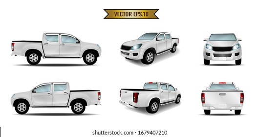 Set of car pickup mockup realistic white isolated on the background. Ready to apply to your design. Vector illustration.