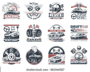 Set of car racing colored emblems, labels, logos and championship race badges with descriptions of classic garage, drift club, world racing. isolated vector illustration