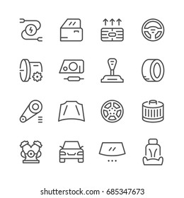 Set of car related line icons isolated on white. Contains such icons as transmission, wheel, tire, door, gear stick, filter, engine, windshield, steering wheel, seat and more. Vector illustration