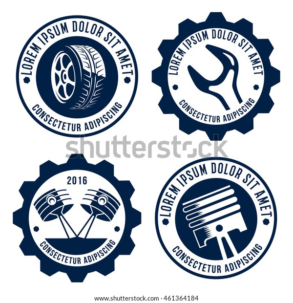 set of car related signs logos icons and symbols