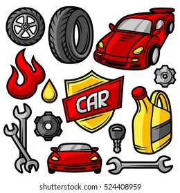 Set of car repair service objects and items.