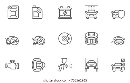 Set of Car Service, Auto Repair and Transport Vector Line Icons. Editable Stroke. 48x48 Pixel Perfect.