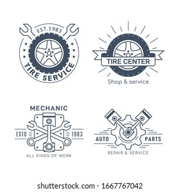Set of Car Service and Repair Badge Design. Black and white line art icon isolated on white background. Wheel repair service, tire store, car repair, auto parts store.