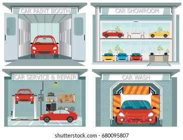 Set of car service station, showroom, carwash, paint booth ,service and repair shop interior concept posters, banners flat style design elements vector illustration.